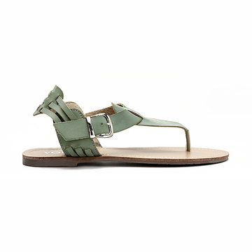 Green Retro Leather Look Buckle Flat Thong Sandals