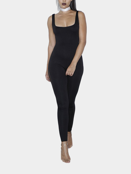 Black Sleeveless Mesh Design Bodycon Jumpsuit