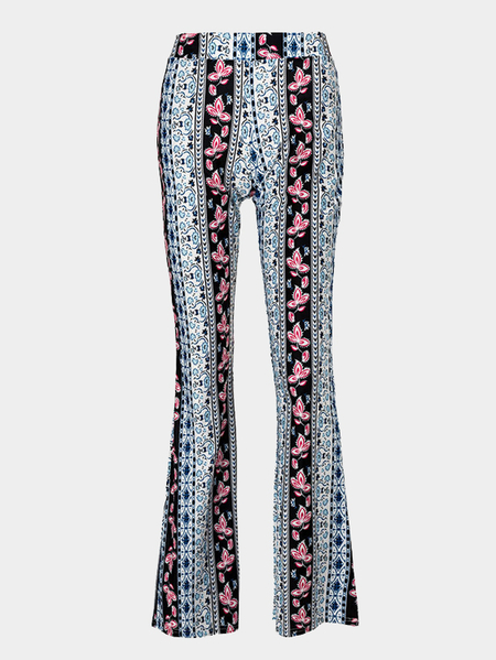 Vintage Floral Print Casual Wide Leg Trousers
