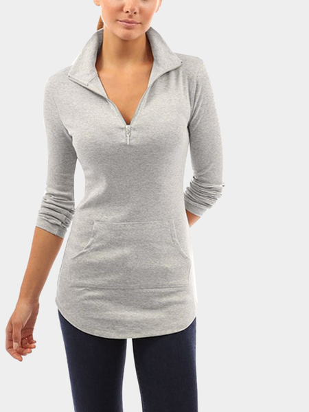 Lapel Collar Top with Front Pocket in Light Grey