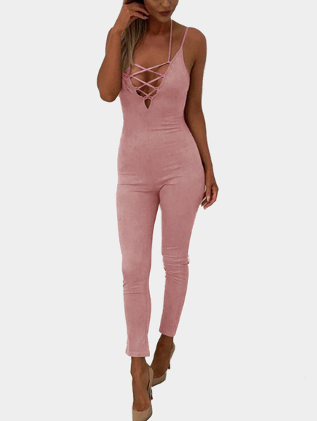 Pink Lace-up V-neck Bodycon Jumpsuit
