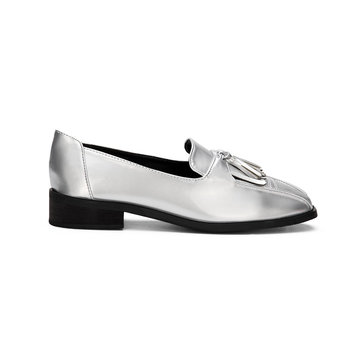 Silver Leather Look Squre Toe Chunky Heel Slip-on Loafers With Tassel