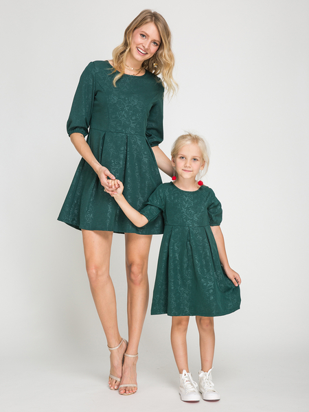 Mommy and Me Atrovirens Half Sleeves Mini Dress in Dark Green