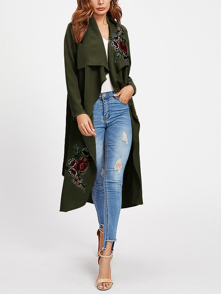 Green Lace-up Design Embroidered Long Sleeves Trench Coat