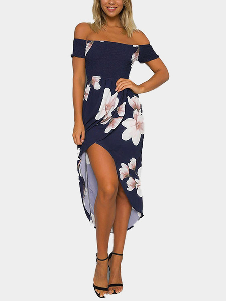 Navy Random Floral Print Off Shoulder Midi Dress