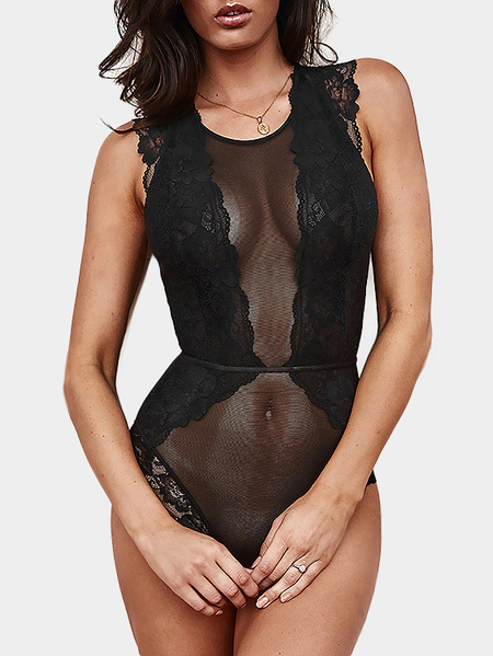 Black Lace Details Cut Out Sleeveless Teddy