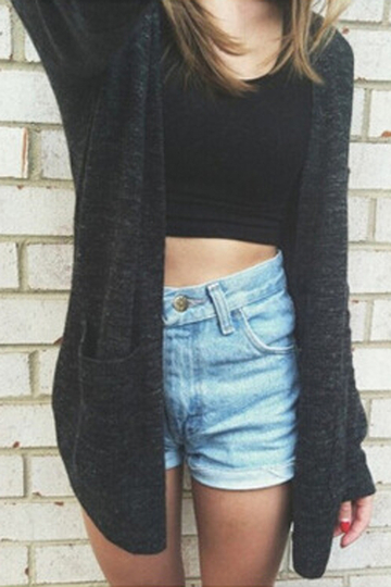 Black Long Length Cardigan with Pockets