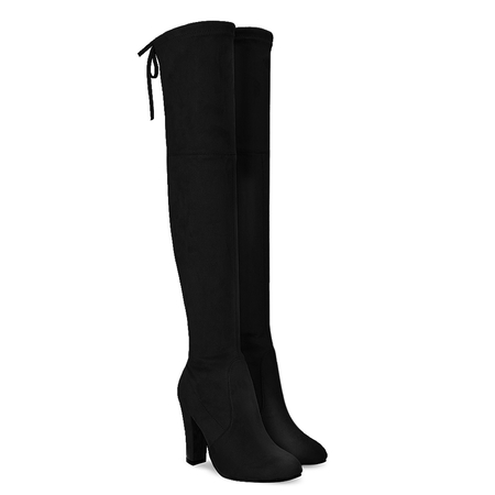 Black Suede Heel Over The Knee Boots