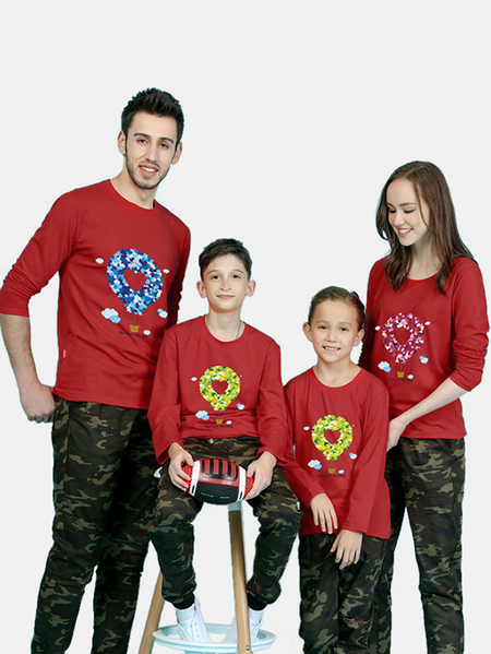 Family Look Red Round Neck Printed Design Family Matching Tops