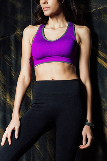 Purple Causal Sleeveless Wireless Bodycon Sport Bra