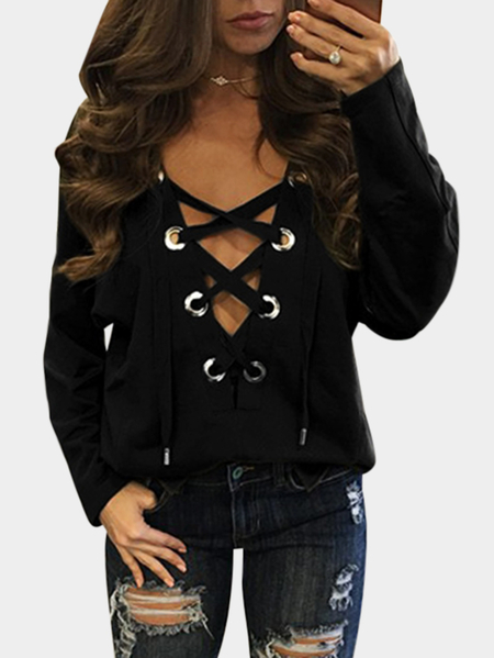 Black Green Sexy Pattern V-neck Lace-up Front Top