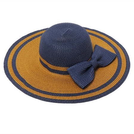 Wide Brim Foldable Summer Beach Sun Bowknot Straw Hat