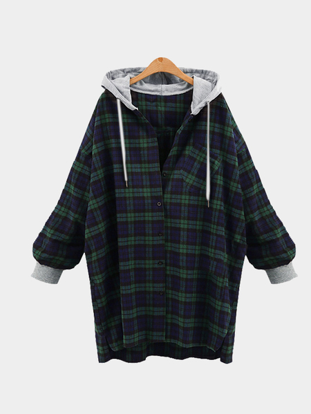 Casual Hooded Design Long Check Shirt in Green