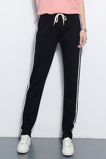 Black Joggers With White Side Border
