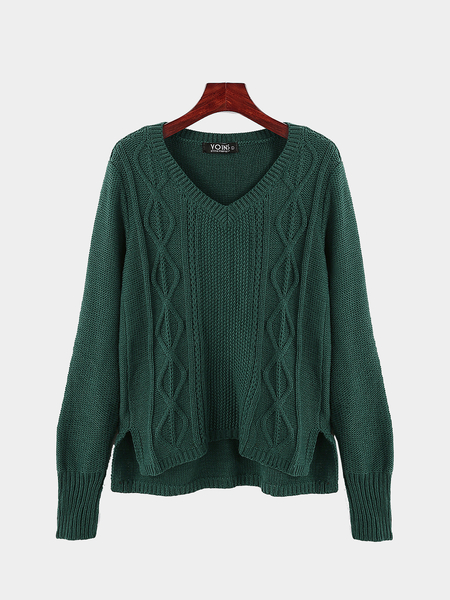 V Neck Cable Knit Jumper in Green