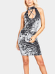 Casual Velvet Sleeveless Halter Design Mini Dress in Grey