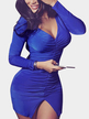 Blue V Neck Split Detail Pleated Front Party Dress