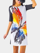 Raglan Half Sleeved Random Colorful Butterfly Print Tee Dress