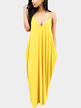 Casual V-neck Sleevesless Side Pockets Maxi Dress in Yellow