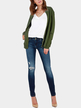 Army Green Artificial Crystal Detail Zipper Front Side Pocket Casual Outerwear