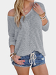Grey Sexy Round Neck Long Sleeves Knitted T-shirt