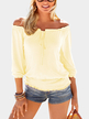 Light Yellow Elastic Strap Plain Off The Shoulder 3/4 Length Sleeves T-shirts