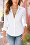 White Lapel Collar Long Sleeves Shirt