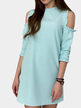 Light Blue Cold Shoulder Half sleeves Mini Dress