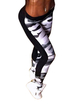 Active Camo Print Stitching Design High Waisted Leggings in Grey