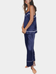 Blue V Neck & Sleeveless Pajamas Suit