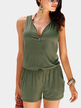 Green Sexy V-neck Drawstring Waist Playsuit With Zipper