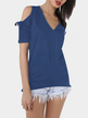 Royal Blue V-neck Cold Shoulder T-shirt