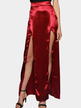 Burgundy Silky Satin Front Splited Sexy Maxi Skirt