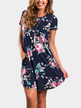 Navy Random Floral Printed A-line Mini Dress