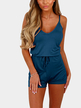 Bright Blue Sexy V-neck Drawstring Waist Playsuit