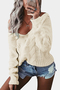 Beige V-neck Long Sleeves Causal Loose Jumper