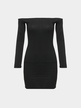 Black Bodycon Off Shoulder Long Sleeves Mini Dress