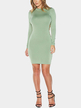 Green Backless Midi Dress with Long Sleeves