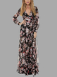 Random Floral Print V-neck Long Sleeves Maxi Dress