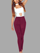 Burgundy Fashion Suede Bodycon Pants
