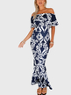 Blue Random Printing Fishtail Dress With Off Shoulder