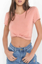 Light Pink Self-tie Crop Top T-shirt
