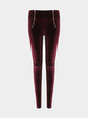 Burgundy Zip Front Velet Leggings with Ripped Knees