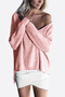 Pink Sexy V-neck One Shoulder Jumper