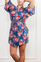Random Floral Print Long Sleeved Robe in Blue