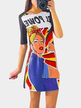 Raglan Half Sleeved Random Cartoon Characters Print Tee Dress
