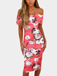 Pink Sexy Random Floral Off Shoulder Bodycon Dress