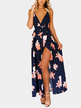 Open Back Splited Hem Random Floral Print V-neck Sleeveless Dress