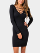 Black Bodycon Deep V Neck Lace-up Strape Front Party Dress