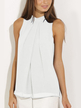 White High Neck Open Back Pleated Chiffon Vest